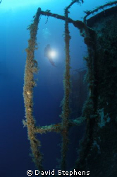 Diver on the wreck of the Zenobia, Cyprus.  Taken with Ni... by David Stephens 